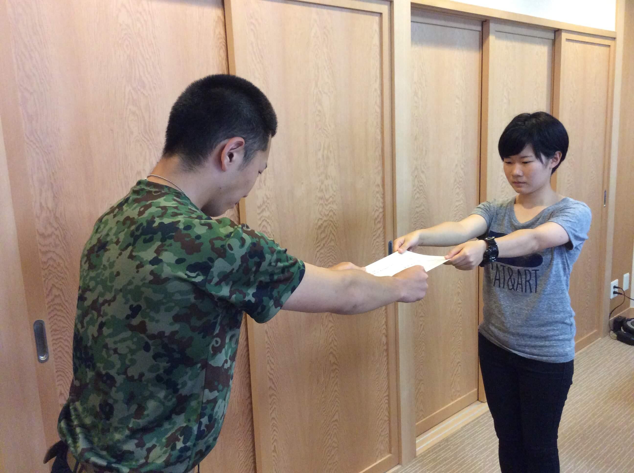 学生隊長から分派班長の任命