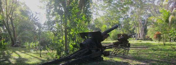 ガ島に残る日本軍の九六式榴弾砲